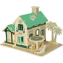 3D Puzzle DIY Wooden House Model Manual Assembling Model Cottage Kids Woodcraft Construction Villa Gift Children Jigsaw Toys snake 3d jigsaw woodcraft kit wooden puzzle