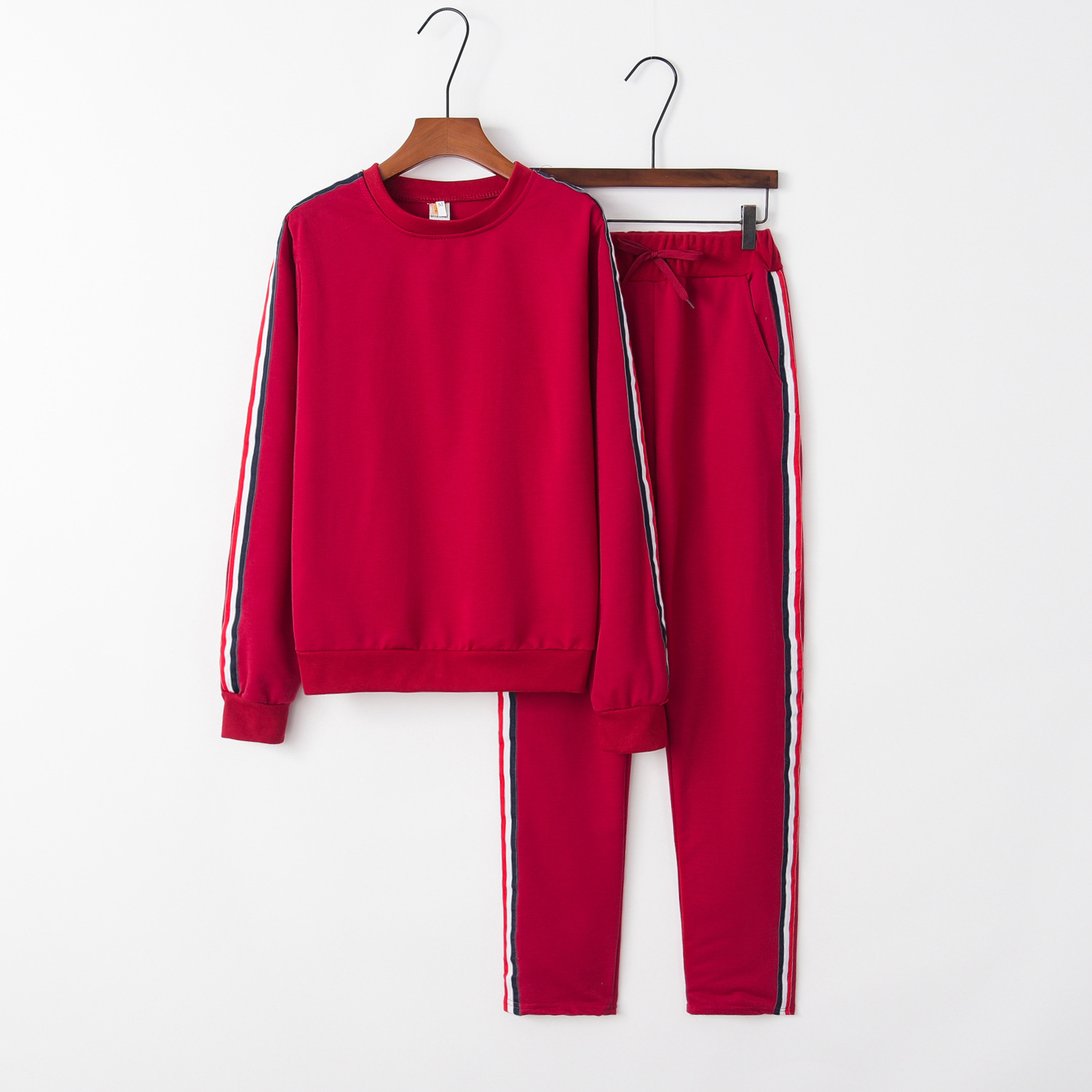 Red Warm 2020 New Design Fashion Hot Sale Suit Set Women Tracksuit Two-piece Style Outfit Sweatshirt Sport Wear