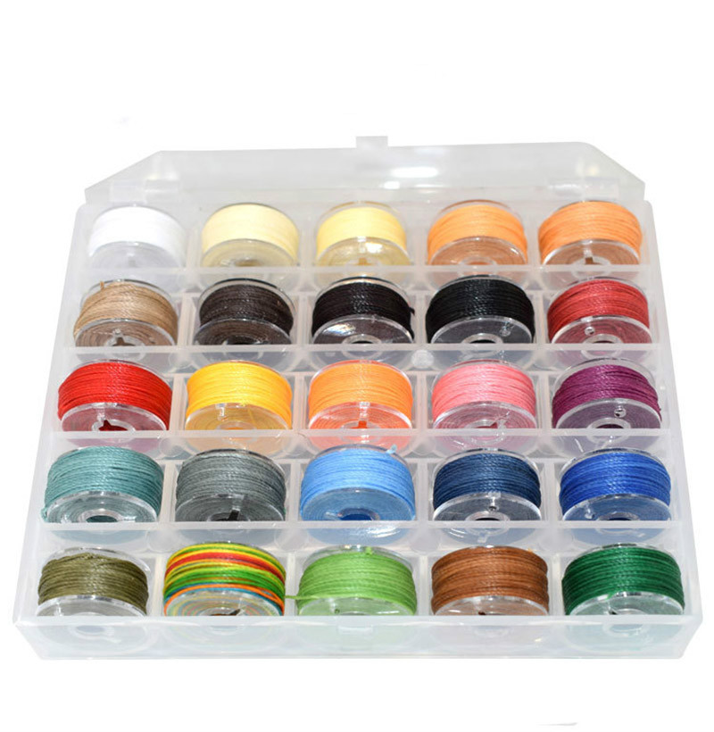 0.45 0.5 0.65mm Waxed Thread Polyester Cord For Diy Jewelry Handicraft Tool Hand Stitching Rope Waxed Beading Cord 25 Color/Box
