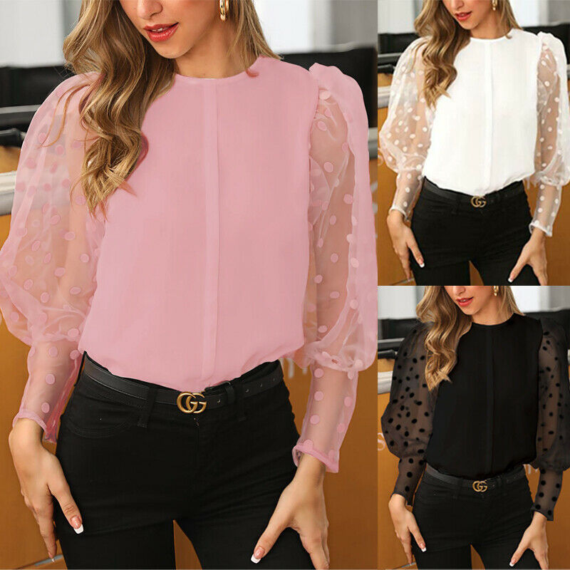 See-through Women Mesh Sheer Blouse Top Shirts o-neck Lace Puff Sleeve Tops Woman Summer Casual Blouses Female
