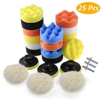 цена на 25PCS 3 Inch Car Polishing Sponge Kit M10 Adapter Polishing Buffing Pads Woolen Waxing Pads Set For Polishing Machine Polisher