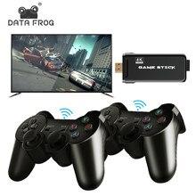 Datafrog 4k hd vídeo game console para ps1/gba clássico retro tv game console 10000 + jogos 2.4g duplo sem fio controlador