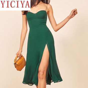 цена Summer Dresses Casual Dresses Dress Shipping Green Women Dress Sexy Split Vestidos Vintage Dress Dress Bodycon Dress Sleeveless онлайн в 2017 году