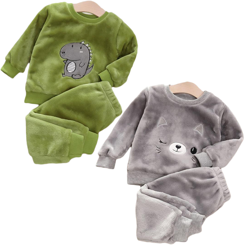 Baby Boy Winter Sets Plush Hooded Jacket 2pcs Children's Casual Outfit Suits Kids Arctic Velvet Tracksuit Toddler Girl Clothing 1