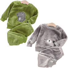 Baby Boy Winter Sets Plush Hooded Jacket 2pcs Children's Casual Outfit Suits Kids Arctic Velvet Tracksuit Toddler Girl Clothing