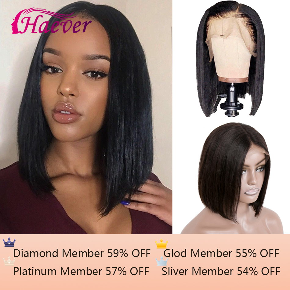 13*4 Short Bob Wigs Peruvian Straight 100% Remy Hair Can Be Dyed Lace Front Human Hair Wigs Pre-Plucked Haever Hair For Woman
