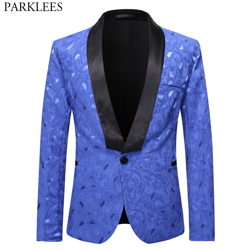 Stylish Paisley Jacquard Royal Blue Blazers Men Shawl Collar One Button Tuxedo Suit Male Casual Party Wedding Costume Homme S-XL