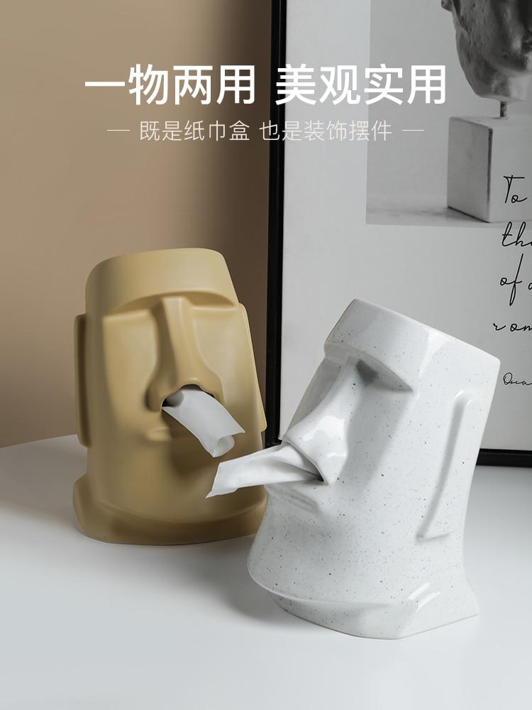Creative Figure Stone Napkin Tissue Box Retro Funny Paper Extraction Box Ornaments