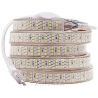 Tira de luces LED de tres filas, cinta Flexible de 220V 2835, impermeable, con enchufe de interruptor europeo para decoración de vacaciones en casa, 276Led/m