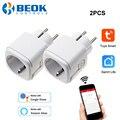 Beok 16a ue inteligente wifi plug com monitoramento de energia protetor contra surtos soquete de controle voz trabalho com alexa google casa
