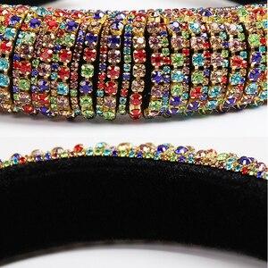 Image 5 - 2021 Rainbow Rhinestone Padded Headbands For Women Girls Luxury Full Diamond Sponge Hairbands Hair Accessories Christmas Gift