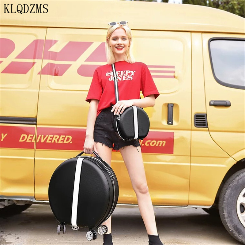 KLQDZMS 18 Inch Personalized Spinner Rolling Luggage Set ABS Woman's Mini Suitcases With Wheeled Trolleys Woman's Cosmetic Case