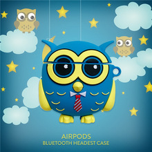 3D Cute Blue Owl Shape For AirPod 2 Case Cartoon Soft Silicone Wireless Earphone Cases Apple Airpods Cover  Funda
