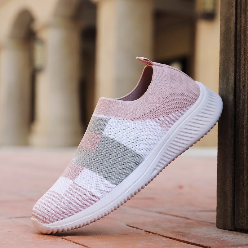 Women's Casual Vulcanized Shoes Woman Mesh Sneakers Women Knitted Flat Ladies Slip On Female Footwear Size 42 Feminino Zapatos 2
