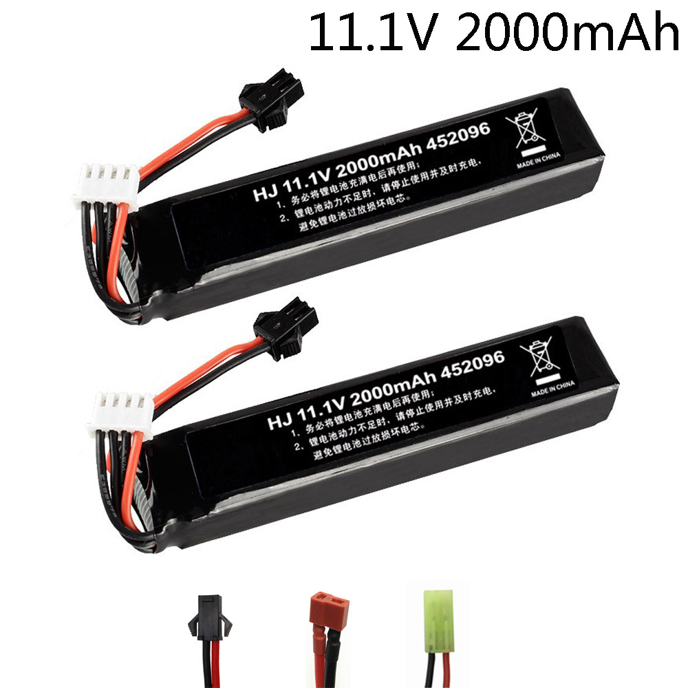 2PCS/lot <font><b>Lipo</b></font> Battery for Water Gun <font><b>3S</b></font> 11.1V <font><b>2000mAh</b></font> 452096 battery for Mini Airsoft BB Air Pistol Electric Toys Guns Parts image
