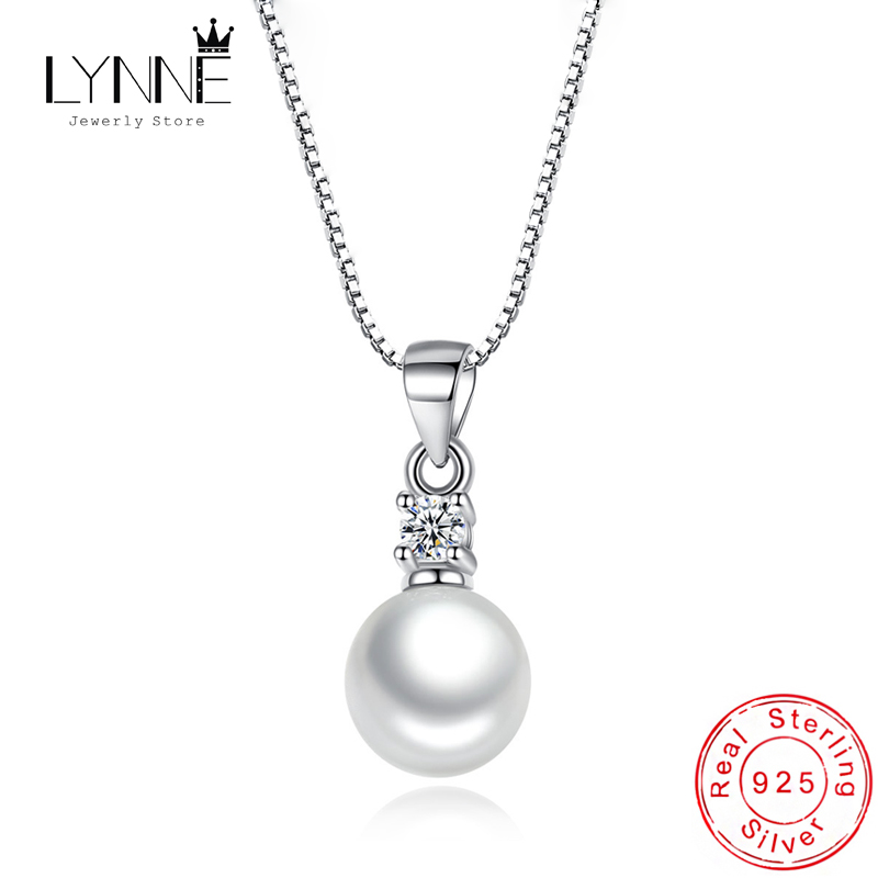 New Wedding Elegant Freshwater Pearl Zircon Pendant Necklace 925 Sterling Silver Rhinestone Necklaces Women Anniversary Jewelry