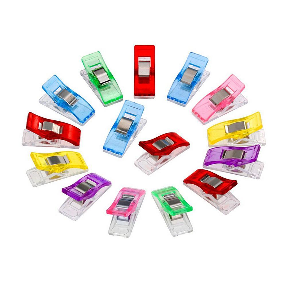 100Pcs Multi Farbe Kunststoff Kleidung Clips Stoff Schellen Patchwork Nähen Handwerk Quilt DIY Hause Handgemachte Accessoires Nähen Werkzeuge