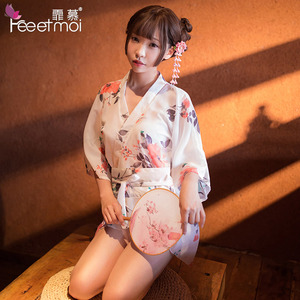 High-end Japanese kimono low neck printed chiffon Woman porn ultra short pajamas uniform cosplay Retro erotic lingerie Adult(China)