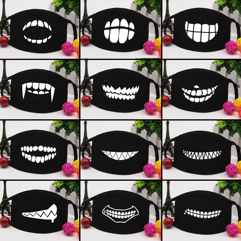 Funny Tooth Masks Warm Women Mask Cotton Cute Kawaii Happy Cartoon Comfortable Streetwear Fashion Black White Winter Skarpetki