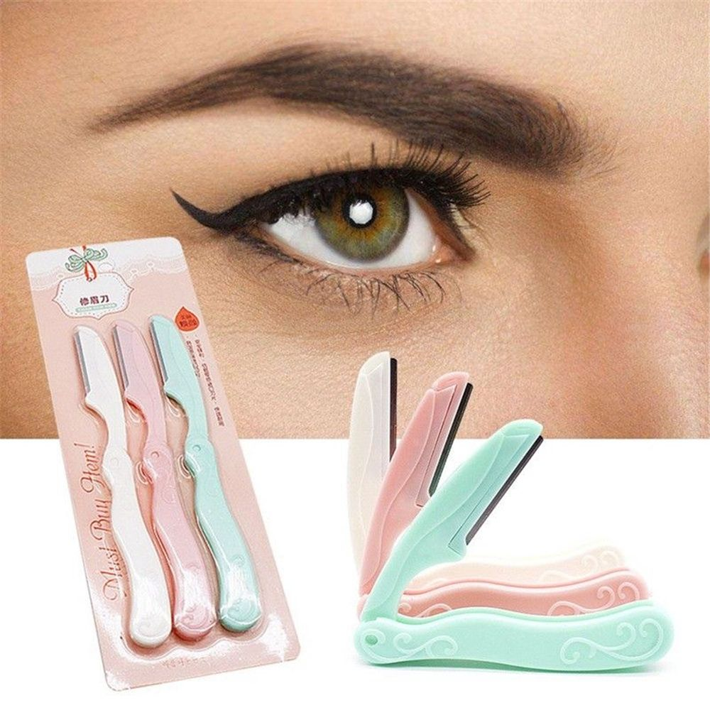 Hot Sale 3Pcs/Set Portable Eyebrow Shaper Dermaplaning Womens Grooming Shaver Shaping Safe Razor Stainless Steel Cutting Tools