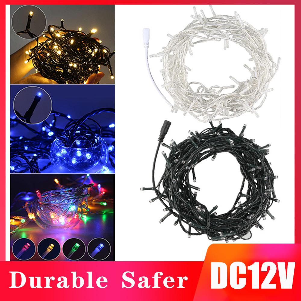 DC12V Fairy LED String Lights 10M/20M White/Dark Green Wire Waterproof Garland LED Holiday Lights For Christmas Wedding Party