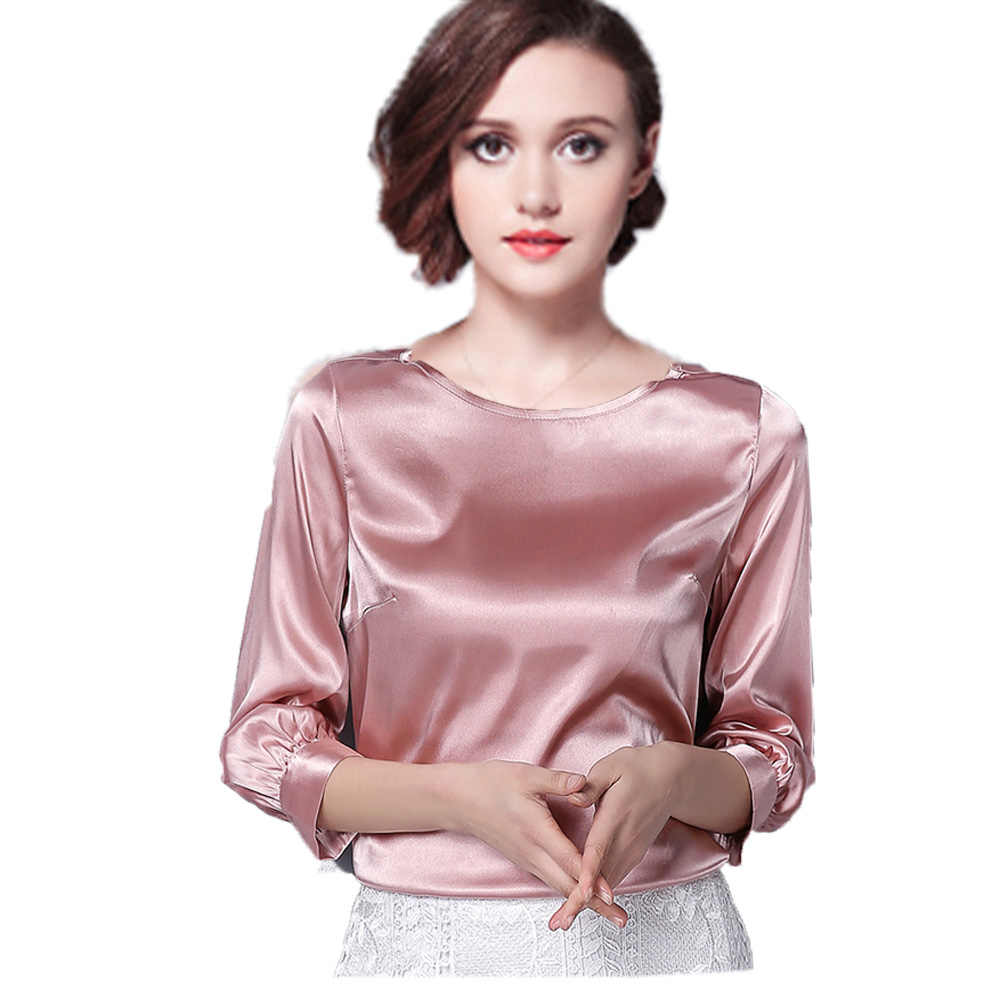 2020 Spring Women Blouses Silk Imitation Lady Shirt Top Three-quarter O Neck Female Blusas Feminina Khaki Silver Green Black Red