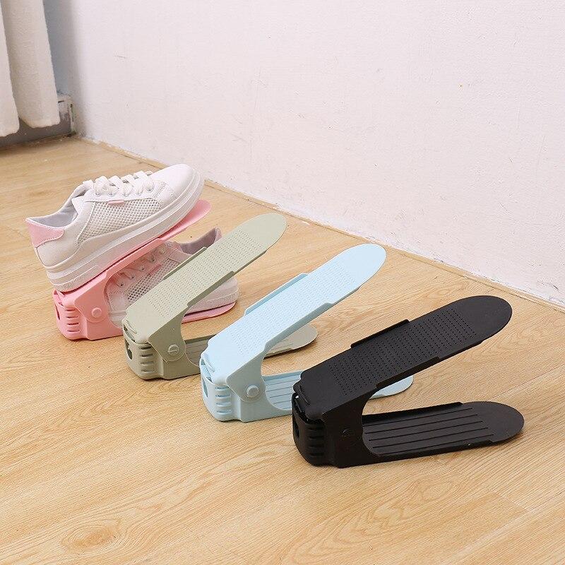 6pcs Durable Adjustable Shoe Organizer Footwear Support Slot Space Saving Cabinet Closet Stand Shoes Storage Rack Shoebox