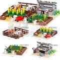 Кубики MOC Farm Series, домик для животных, Кролик, курятник, стабильный дом, бульдон, свинья, буксирующие блоки, креативные игрушки для детей