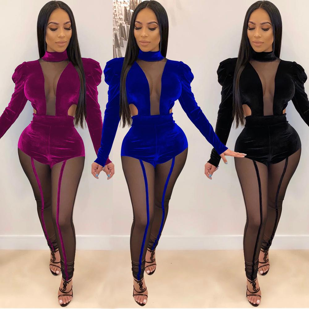 Sexy Women Two Piece Outfits Warm Tracksuits Elegant Velvet Mesh Patchwork Bodysuit And Pant See Through Matching Sets