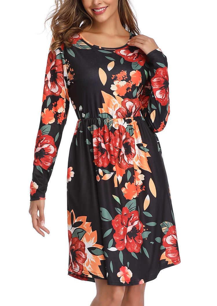 2019 Uzun Kollu Sonbahar Kış Bir Çizgi Çiçek Elbise Pist Vintage Çiçek Baskı Tunik İnce O Boyun Cep Ofis Parti kadın Elbise
