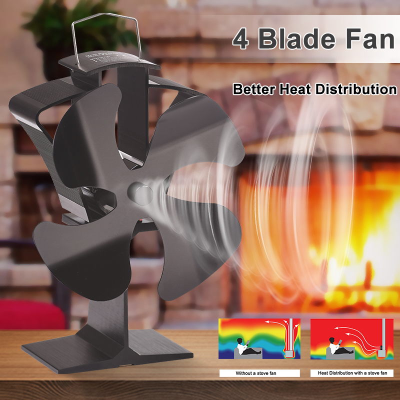 Black 4 Blades Heat Powered Stove Fan Eco Fireplace Fan Wood Burner Quiet Energy Saving Home Efficient Heat Distribution