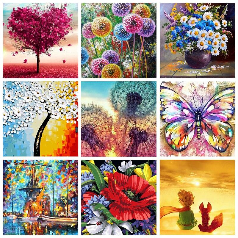 DIY Oil numbrite järgi maalimine / maalimiskomplekt - erinevad lilled / loomad / 17 erinevat pilti / 40x50cm raamita või ima variant