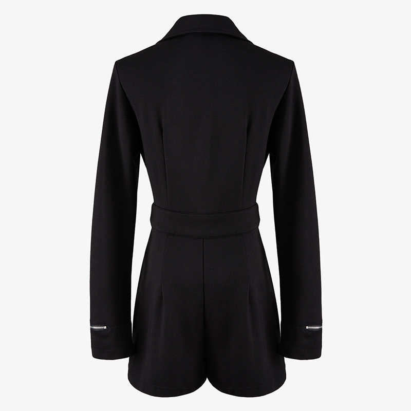 [EAM] свободный женский черный комбинезон на молнии Новые шорты с завышенной талией и карманами штаны со швами Мода весна осень 2019 1A988