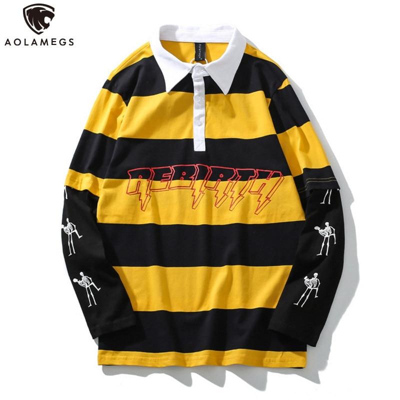 Aolamegs Sweatshirt Men Fake 2 Pieces Men Turn-down Collar Striped Print Pullover College Style Harajuku High Street Sweatshirt