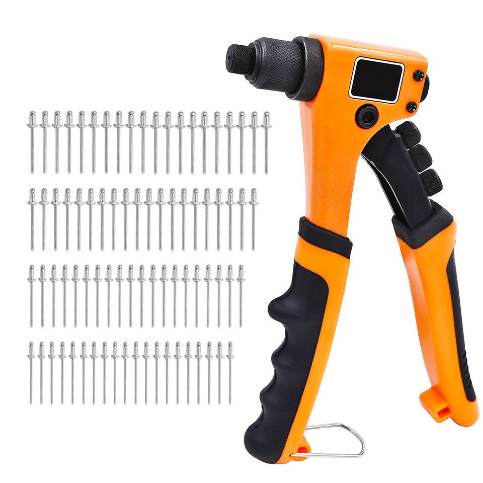 "GOXAWEE 8"" Hand Riveter Guns 4 In 1 Pop Heavy Duty Manual Rivet Nut Gun Tools Set With 2.4mm 3.2mm 4.0mm 4.8mm Rivet Nails 80pcs"