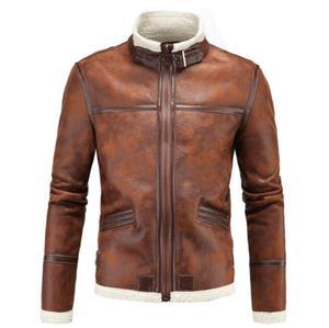 Осенняя куртка из искусственной кожи, Мужская зимняя утолщенная теплая бархатная куртка со стоячим воротником, меховое кожаное пальто, муж...