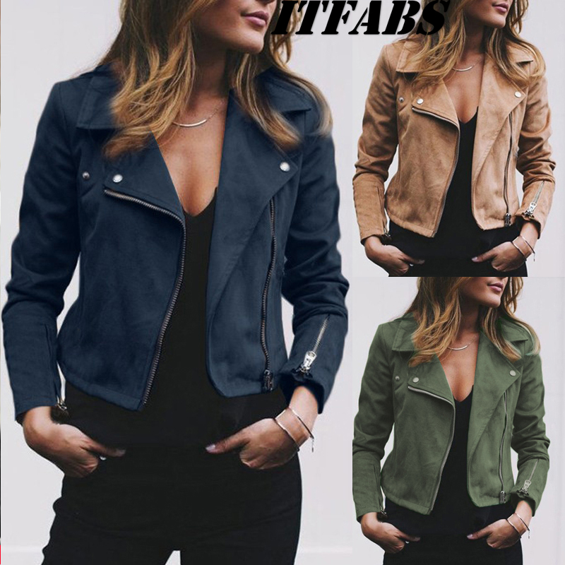 Bomber Jacket Coat Turn-Down-Collar Spring Classic Moto Zipper Suede Autumn Fashion 30
