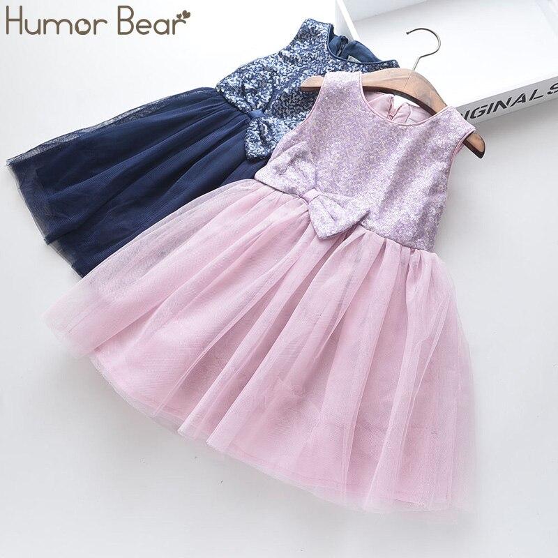 Humor Bear Girls Dress Summer Brand New Sequin Splicing Yarn Girls Round Neck Sleeveless Big Bow Dress Baby Kids Girls Clothing