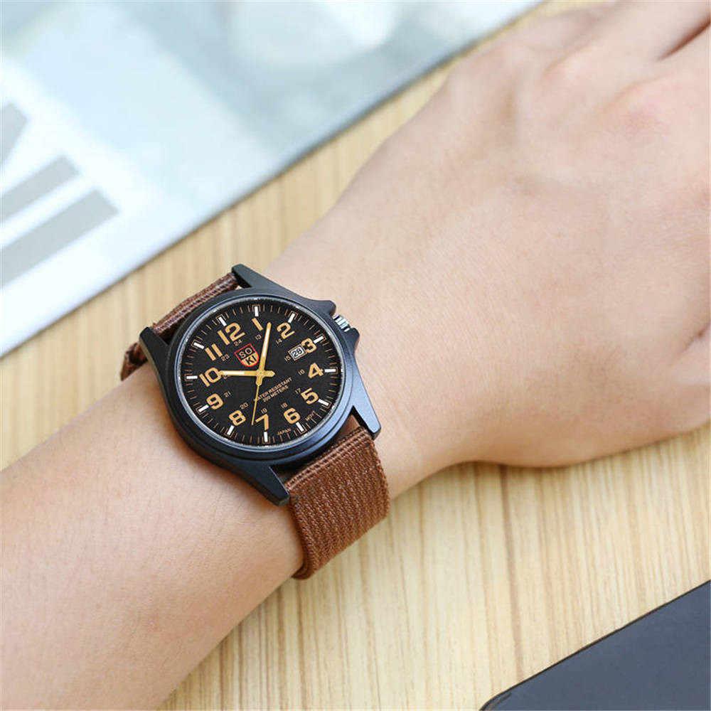 Montres de luxe pour hommes Date montre d'affaires bracelet en Nylon analogique Quartz montre-bracelet étanche en acier inoxydable hommes Sport montres 2020