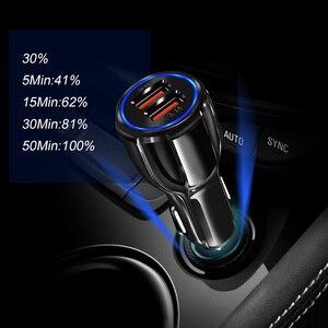 Image 2 - Araç şarj cihazı hızlı şarj 3.0 QC 3.0 hızlı şarj adaptörü çift USB araç şarj cihazı iphone mikro USB tipi C kablo telefon şarj cihazları