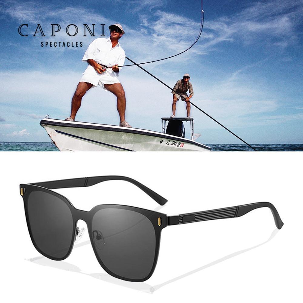 CAPONI Polarized Driving Sun Glasses For Men 2020 New Square Men's Sun Glasses Anti UV Light Black Shades For Women UV400 CP8633