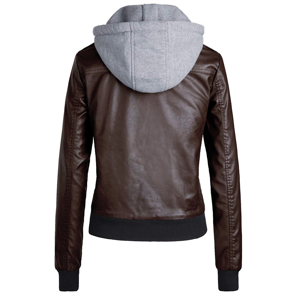 ECHOINE Mens Faux Leather Stand Collar Motorcycle Jacket