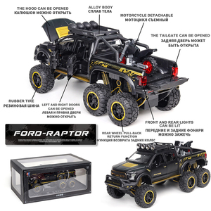 Image 5 - 1:28 Diecast SUV FORD RAPTOR Metal Model Car Toy Wheels Alloy Vehicle Sound And Light Pull Back Car Boy Kid Toys Christmas Gift