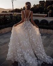 ויויאן של כלה אופנה פרחוני הדפסת Boho יפה 3d פרח ספגטי רצועות משפט רכבת אלגנטית מתוקה כלה שמלה