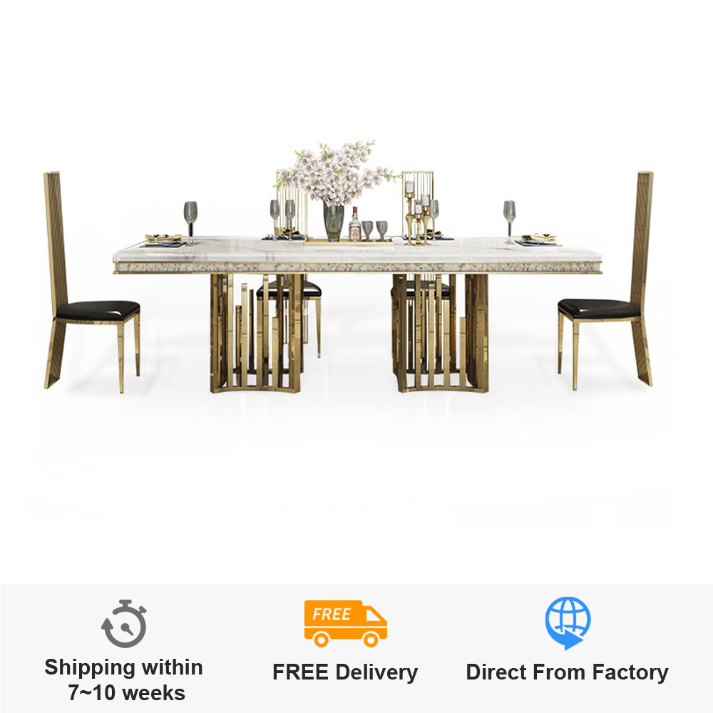 44 Off Rama Dymasty Stainless Steel Dining Room Set Home Furniture Modern Marble Dining Table And 8 Chairs Rectangle Table