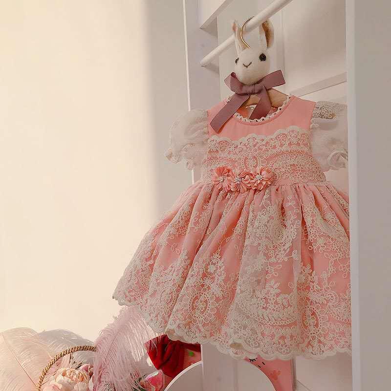 2pcs Summer Spanish Lolita Birthday Party Princess ShortSleeve Dress For Bady Girls Children Lace Ball Gown Flower Vintag Dress