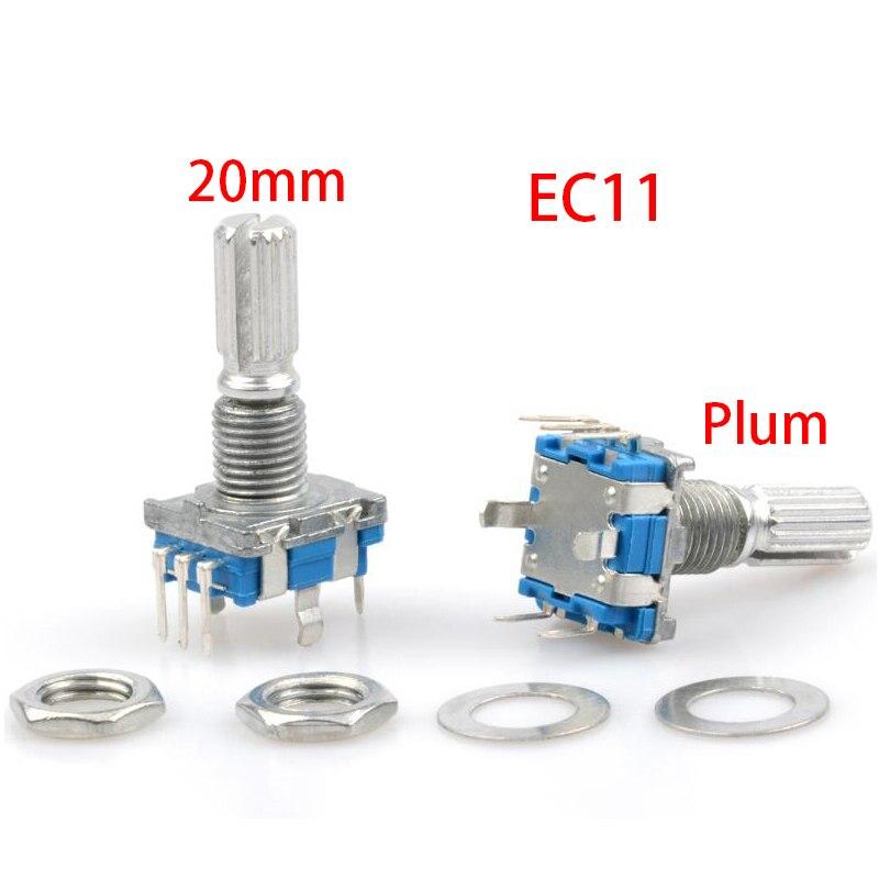 5 pièces EC11 20mm prune Hle encodeur rotatif commutateur de codage potentiomètre numérique commutateur 5 broches bricolage