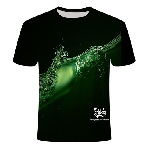 Летняя футболка с 3D принтом в виде пива, покера, для мужчин и женщин, забавная Новинка, футболка с круглым вырезом и коротким рукавом, топы, модные уличные мужские футболки - Цвет: TX013
