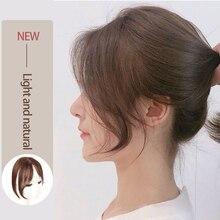 MUMUPI ロングフロント髪強打サイドフリンジヘアエクステンション本当人工毛 3D 中部前髪毛ピース
