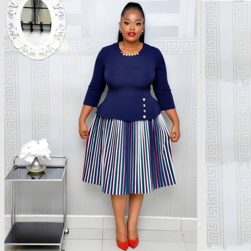 African Dresses For Women 2019 Elegent Fashion Style African Women Plus Size Polyester Knee-length Dress S-3XL